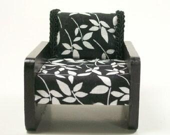 Deco Chairs Modern Club Black White 1:12 Dollhouse Miniatures Artisan