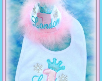 Snowflake Cake Smash, 2 Piece Set, Princess Number/Crown Custom First Birthday Hat and  Bib,  You choose colors,  by Gingham Bunny