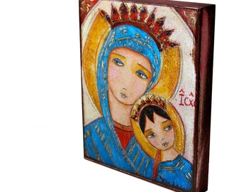 Our Lady of Perpetual Help II -  Giclee print mounted on Wood (4 x 5 inches) Folk Art  by FLOR LARIOS
