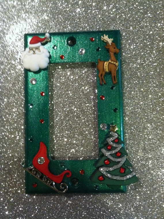 Christmas light switch cover plate with santahis by