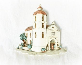 Vintage Church Mission Wall Art Southwestern Mexico 90s Burwood Building Cathedral