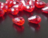Glass Beads 20 Red Teardrop Faceted Drop 11mm x 8mm (1020gla11-11)