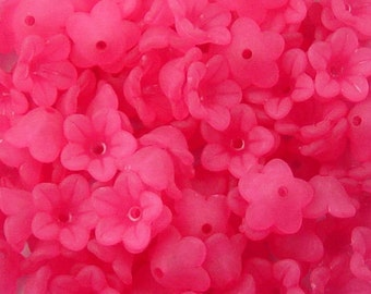CLEARANCE Acrylic Bead 60 Bell Daisy Flower 5-Petal Bright Pink Frosted 13mm x 7mm (1015luc13-25)os