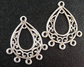 CLEARANCE Earring Chandelier 4 Pendant Charm Antique Silver 5 Dangle Holes Flat 30mm long 25mm wide NF (1052ear30s1)os