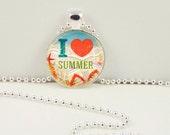 Summer Necklace, Summer Pendant, I Love Summer  Bohemian Gypsy Jewelry  RW183