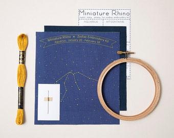 Aquarius Zodiac Embroidery Kit - diy constellation embroidery kit