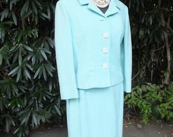Vintage Marcus Suit, Light Blue Classic Mad Men Style Two Piece Suit, Tailored by Handmacher