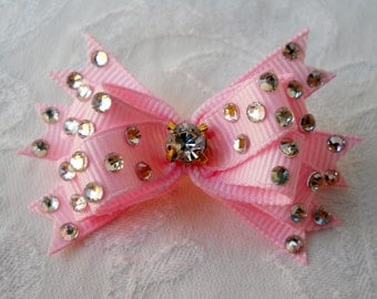 Dog Bow- Swarovski Swiss Dot  Boutique Dog Bow