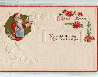 Christmas Greetings, Santa painting sailboat vintage postcard vintage postcard, SharonFosterVintage