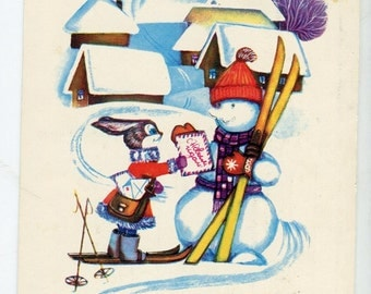 Vintage animals postcard, dressed bunny, snowman, Skis, Colorful Russian village, Eastern European, Soviet vintage