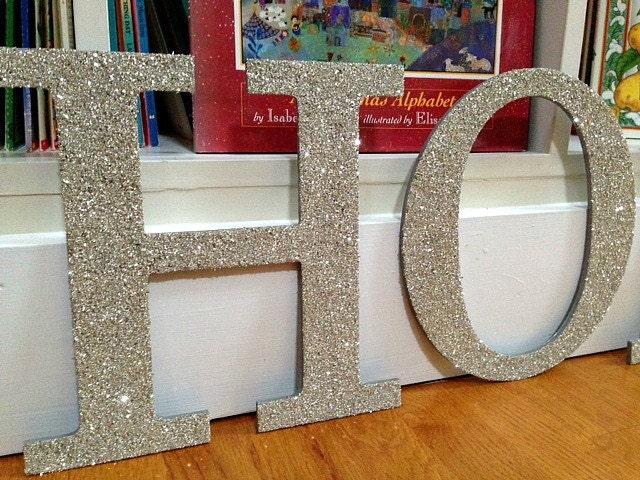 HO HO HO German Glass Glitter, Christmas Holiday Decor, Glittered Letters, Holidays, German Glass Glitter, Housewares, Home Decor, Handmade