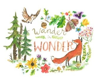 Nursery Art -- WANDER IN WONDER -- Art Print