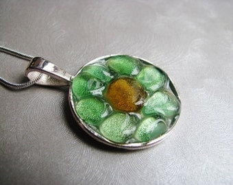 Spring flower necklace - Sea Glass Jewelry - Kelly Green and Amber - Sea Glass Necklace - Beach Glass Jewelry