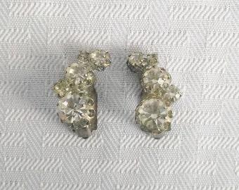 1950's Vintage Rhinestone Clip On Earrings Austria