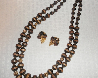 Clearance 1950's Vintage Tribal Ethnic Wooden Bead Necklace and Earring Demi Parure Set by ART