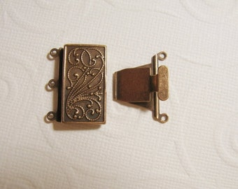 Vintage Look Plated Brass - Copper Plated - 23mmx21mm Clasp - 3 strand -  1 Clasp - nickel free, lead free