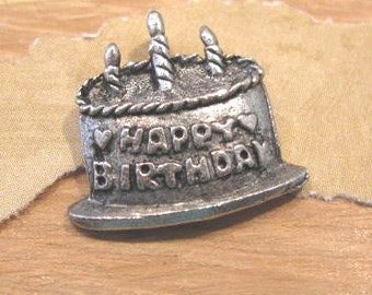 Antique Pewter Birthday Cake Charm from Quest Beads and Cast