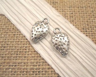 Pewter Antique Silver Strawberry Charms - 2 Count