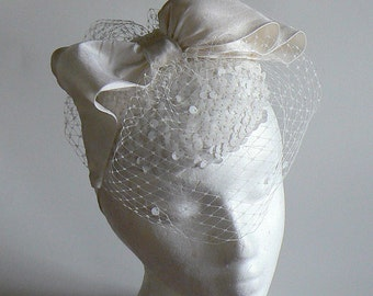 Ivory sequin bridal hat - silk wedding hat - ivory silk fascinator