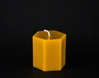 Pure Beeswax Pillar Candle - Hexagon Pillar - 3 in. x 3 in. tall