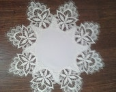 """Venitian Lace -- 12"""" Round or Doily -- Bleached White 100% Polyester"""