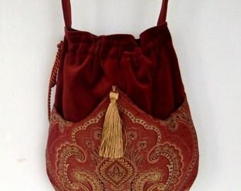 Rust Velvet Pocket Bag  Boho Bag  Tapestry Crossbody Purse