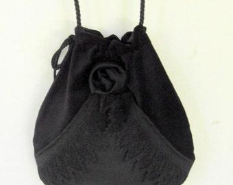 Black Lace And Velvet  Pocket Boho Bag  Black Rose Steampunk Drawstring Bag  Black Forest Mori Bag  Crossbody Purse