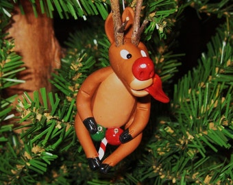 Naked Naughty Rudolph playing Reindeer Games Christmas Ornament - Unique and Funny-Secret Santa