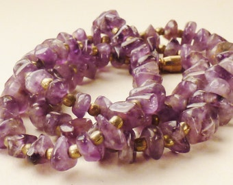 Vintage AMETHYST Chip beads Necklace chunky with gilt spacers Strand  24 1/2 in  long  3/8 in wide Xmas Gift