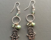 hamsa protection beaded earrings