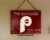 Personalized MLB Slate Sign/Phillies Hand Painted Decorative Slate Sign/Philadelphia Phillies Team Slate Sign/Sports Sign/Phillies Sign
