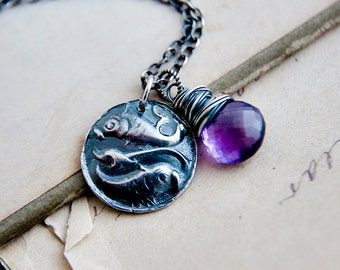 Pisces Pendant Necklace, Amethyst  Birthstone Necklace, Crystal Birthstone Jewelry