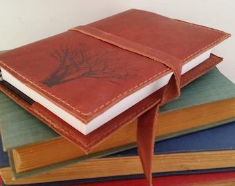 Leather Journal Sketchbook Custom Hand-Printed Free Personalization