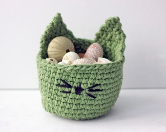 Kitty  Basket, Cat Basket, Hand Crocheted Cotton Kitty Basket, Cat Decor