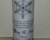 Winter Wedding Unity Candle Set with Snowflakes - Choose your snowflake and colors