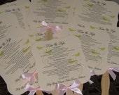Wedding Fans with Program, Program Fans, Vintage, Wedding Fan, Wedding Favor, Die Cut Fan