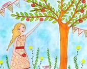 Original Painting, Original Art, Watercolor Painting, Apple Picking