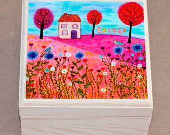 Meadow House Jewelry Box, Wooden Trinket Box