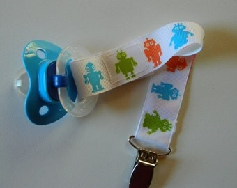 Robots Pacifier Holder. Orange, Green, Turquoise Paci-Holder. Universal, Soothie. Mam, Avent, Gumdrop or Nuk. Gender Neutral Paci-Holder