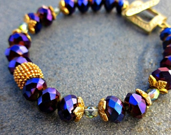 Purple and Gold Glass Beaded Bracelet: Empress WAS 15.00