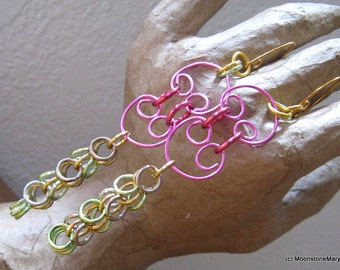 Neon Pink Earrings Chain Maille Holiday Party Long Dangling FUN