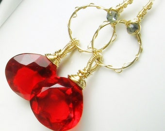 gemstone hoops, red gemstone dangles, quartz chandelier earrings, tanzanite, gold fill, hand forged, wire wrapped