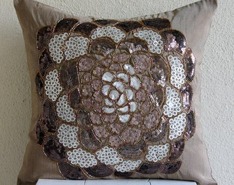 """Brown Decorative Pillow Cover,  Square  Sequins And Beaded Flower Medallion 16""""x16"""" Silk Pillows Cover - Brown WildFlower"""