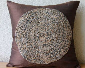 "Luxury Brown Pillow Covers, 16""x16"" Silk Pillow Covers, Square  Spiral Jute Circle Pillows Cover - Jute Chakra"