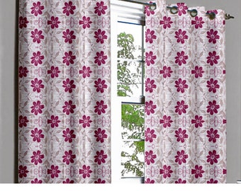 Purple Ivory Beige Floral Grommet Blackout Lined Curtain in Textured Jacquard Weave Fabric Housewares Window Treatment Drapes Curtain Panels