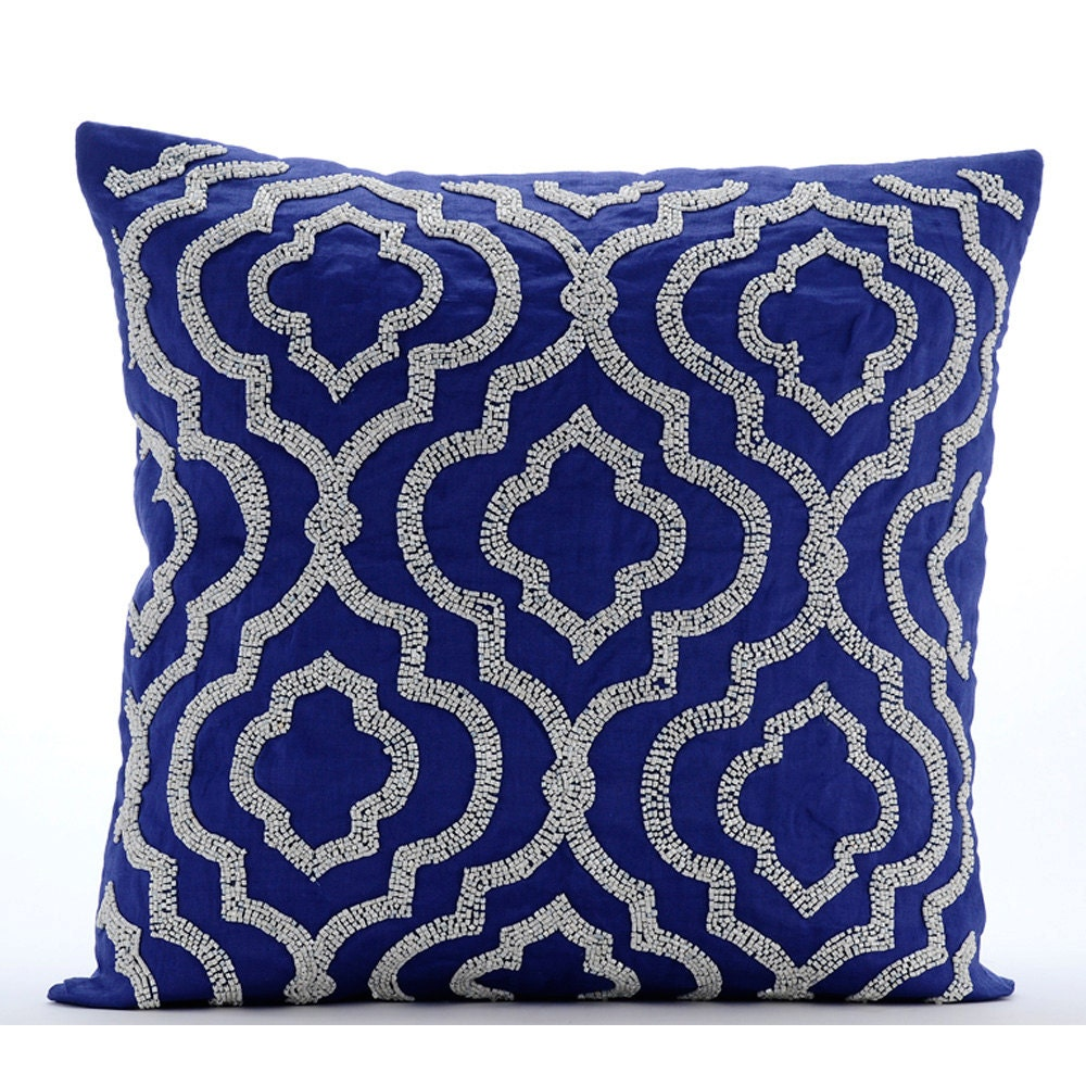 Handmade Blue Throw Pillow Covers 16x16 Cotton