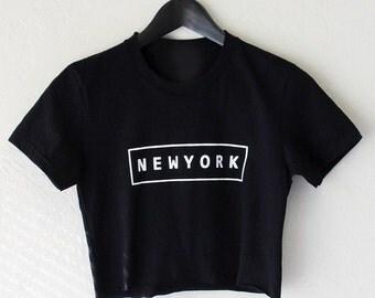 Cute Raw Cut NEW YORK Crop Top