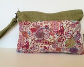 Liberty of London, casual clutch, Green clutch, Paisley clutch, removable strap clutch, bridesmaids gift, clutch