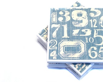 Coasters - Varsity Blues - Set of 4 (Distressed blue and beige)