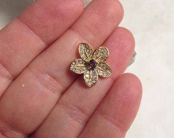 Look Of Real Diamond Flower Connector Bead, Purple Amethyst CZ Finding Pendant Charm 18Kt Yellow Gold Plate QTY1